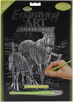 "Mare & Foal - Silver Foil Engraving Art Kit 8""X10"""