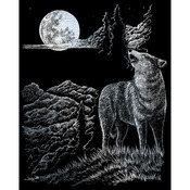 "Wolf Moon - Silver Foil Engraving Art Kit 8""X10"""
