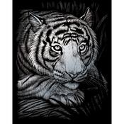 """White Tiger - Silver Foil Engraving Art Kit 8""""X10"""""""
