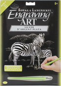 "Zebras - Silver Foil Engraving Art Kit 8""X10"""