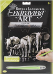 """Elephant Herd - Silver Foil Engraving Art Kit 8""""X10"""""""