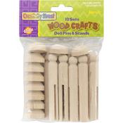 Natural 10 Sets/Pkg - Woodcrafts Doll Pins & Stands