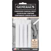 White - 2B, 4B & 6B - Compressed Charcoal Sticks 4/Pkg