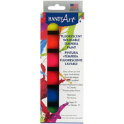 Fluorescent - Handy Art Tempera Washable Paint Kit .75oz 6/Pkg