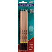 Assorted Colors - Pro Art Charcoal Pencils 4/Pkg