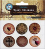 """Abstract Paper 3 - Vintage Collection Epoxy Stickers 1"""" 6/Pkg"""