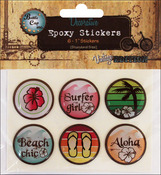 "Surfer Girl - Vintage Collection Epoxy Stickers 1"" 6/Pkg"