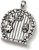 Antique Silver With Round Window - Fairy Door Metal Charm 1/Pkg