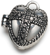 Antique Silver Heart - Prayer Box Metal Charm 1/Pkg