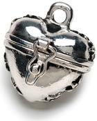 Antique Silver Puffy Heart - Prayer Box Metal Charm 1/Pkg