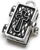 Antique Silver Bible - Prayer Box Metal Charm 1/Pkg