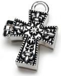 Antique Silver Cross - Prayer Box Metal Charm 1/Pkg