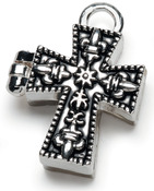Antique Silver Cross - Prayer Box Metal Charm 1/Pkg