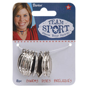 Silver Football 8/Pkg - Metal Charms