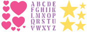 "Hearts, Stars & Alphabet - Simply Stencils Value Pack 8""X10"" 3/Pkg"