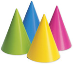 Assorted Neon - Party Hats 8/Pkg