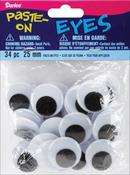 Black - Paste-On Wiggle Eyes 25mm 34/Pkg