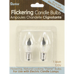 1 Watt 2/Pkg - Candle Lamp Collection Flickering Candle Bulbs