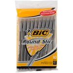 Black - Bic Round Stic Ball Pens Medium Point 10/Pkg