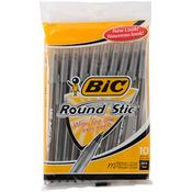 Black - Bic Round Stic Ball Pens Medium Point 10/Pkg
