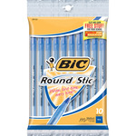 Blue - Bic Round Stic Ball Pens Medium Point 10/Pkg