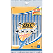 Blue - Bic Round Stic Ball Pens Medium Point 10/Pkg