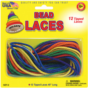 "Assorted Colors - Bead Laces 45"" 12/Pkg"