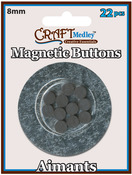 Magnetic Buttons On Mirror, 8mm 22/Pkg