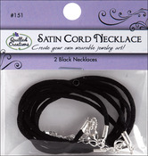 "Black Satin - Necklace Cording 16"" With 2"" Extender 2/Pkg"