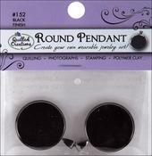 """Black Round - Jewelry Pendant 1"""" 2/Pkg"""