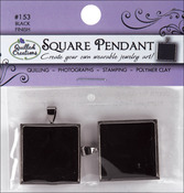 "Black Square - Jewelry Pendant 1"" 2/Pkg"