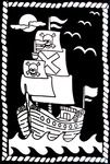"""Pirate Ship - Color-In Velvet Poster 6""""X9"""""""