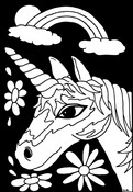 "Unicorn Face - Color-In Velvet Poster 6""X9"""
