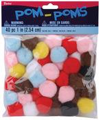 """Multi - Pom-Poms 1"""" 40/Pkg"""