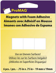 ".75"" 6/Pkg - ProMag Square Magnets W/Foam Adhesive"