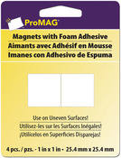 "1"" 4/Pkg - ProMag Square Magnets W/Foam Adhesive"