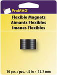 """3/16""""Thickness .5""""Diameter 10/Pkg - ProMag Flexible Round Magnets"""