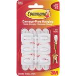 White 6 Hooks & 8 Strips - Command Mini Hooks