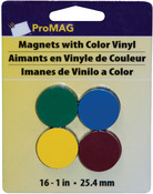 "1"" 16/Pkg Assorted Colors - ProMag Round Magnets W/Colored Vinyl"