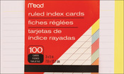 """Ruled Assorted Colors - Index Cards 3""""X5"""" 100/Pkg"""