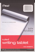 "Ruled White - Writing Tablet 6""X9"" 100 Sheets/Pad"