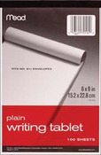 """Unruled White - Writing Tablet 6""""X9"""" 100 Sheets/Pad"""