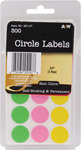 """Neon Circles .75"""" 300/Pkg - Labels"""