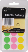 "Neon Circles .75"" 300/Pkg - Labels"