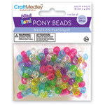 Transparent Multicolor Mix - Mini Barrel Pony Beads 6mmX4mm 300/Pkg