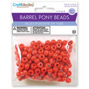 Red - Barrel Pony Beads 9mmx6mm 175/Pkg