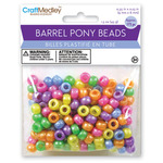 Pearlized Multicolor Mix - Barrel Pony Beads 9mmx6mm 175/Pkg