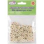 Natural - Wood Alphabet Beads 8mm 70/Pkg