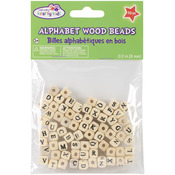 Natural - Wood Alphabet Beads 8mm 70/Pkg
