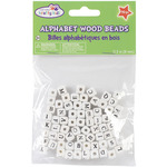 Wood Alphabet Beads 8mm 70/Pkg - White